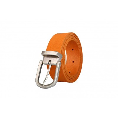 Ceinture en cuir coloré orange