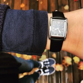 Montre La Rectangle cuir noir